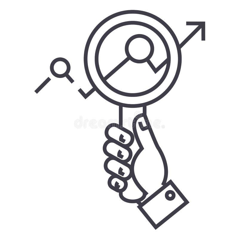 Het marktonderzoek, zoemt ter beschikking, zoekend pictogram van de tendensen het vectorlijn, teken, illustratie op achtergrond,  vector illustratie