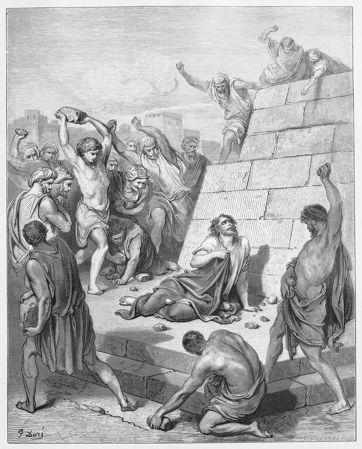 Het martelaarschap van Stephen wordt gestenigd royalty-vrije illustratie