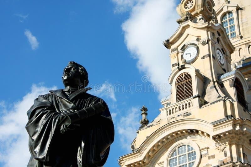 Het Martin Luther-monument in Dresden (Duitsland) royalty-vrije stock foto's