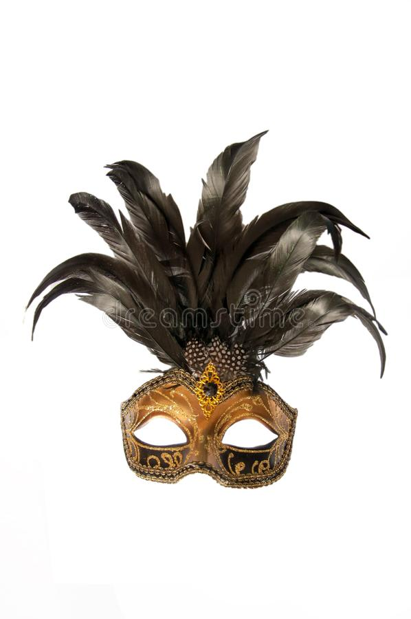 Het masker van Carnaval Venetië Italië met zwarte veren stock afbeelding