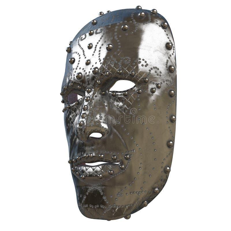 Het masker van de ijzerfantasie op gezicht met patronen op geïsoleerde witte achtergrond 3D Illustratie stock illustratie