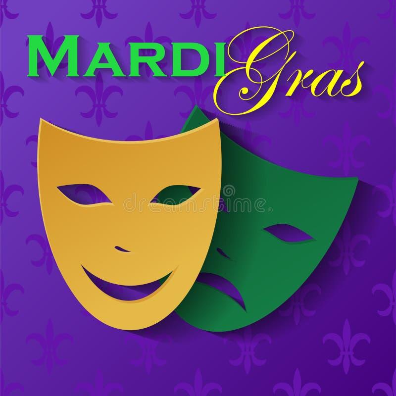 Het masker van de maskeradepartij Carnaval-masker op purpere achtergrond, vooraanzicht wordt geïsoleerd dat stock illustratie