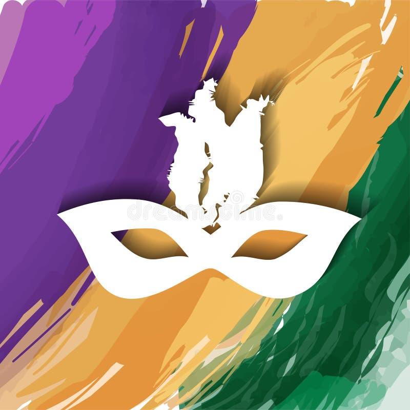 Het masker van de maskeradepartij Carnaval-masker op witte achtergrond, vooraanzicht wordt geïsoleerd dat royalty-vrije illustratie