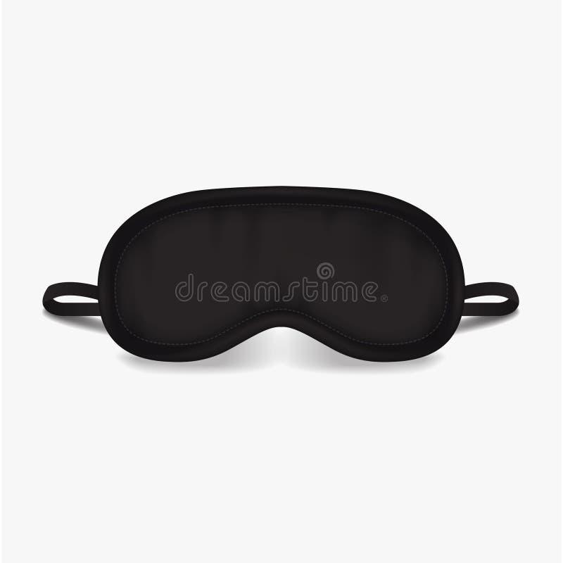 Het Masker van de oogslaap Vectorspot op illustratie Zwart slaap bijkomend voorwerp De ogenbescherming voor rust nachtreis royalty-vrije illustratie