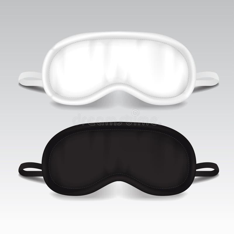 Het Masker van de oogslaap Vectorspot op illustratie Zwart-wit slaap bijkomend voorwerp De ogenbescherming voor rust nacht stock illustratie