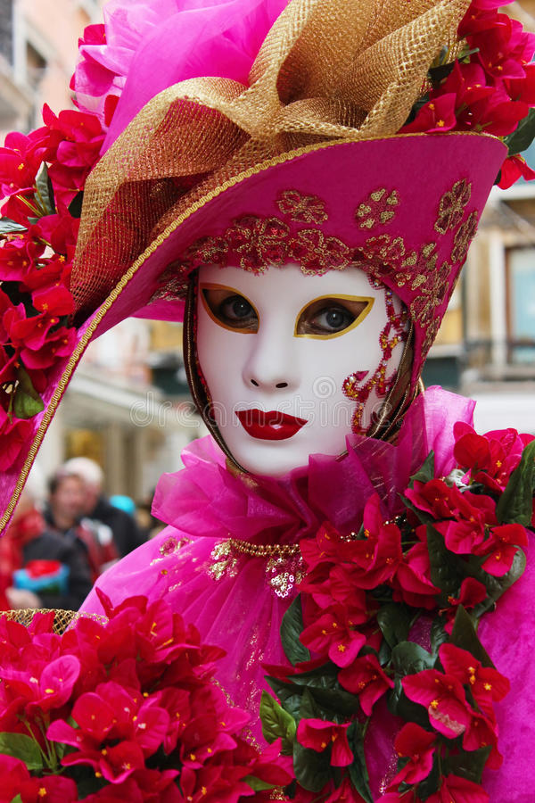 Het Masker van Venetië Carnaval - Roze Dame royalty-vrije stock fotografie