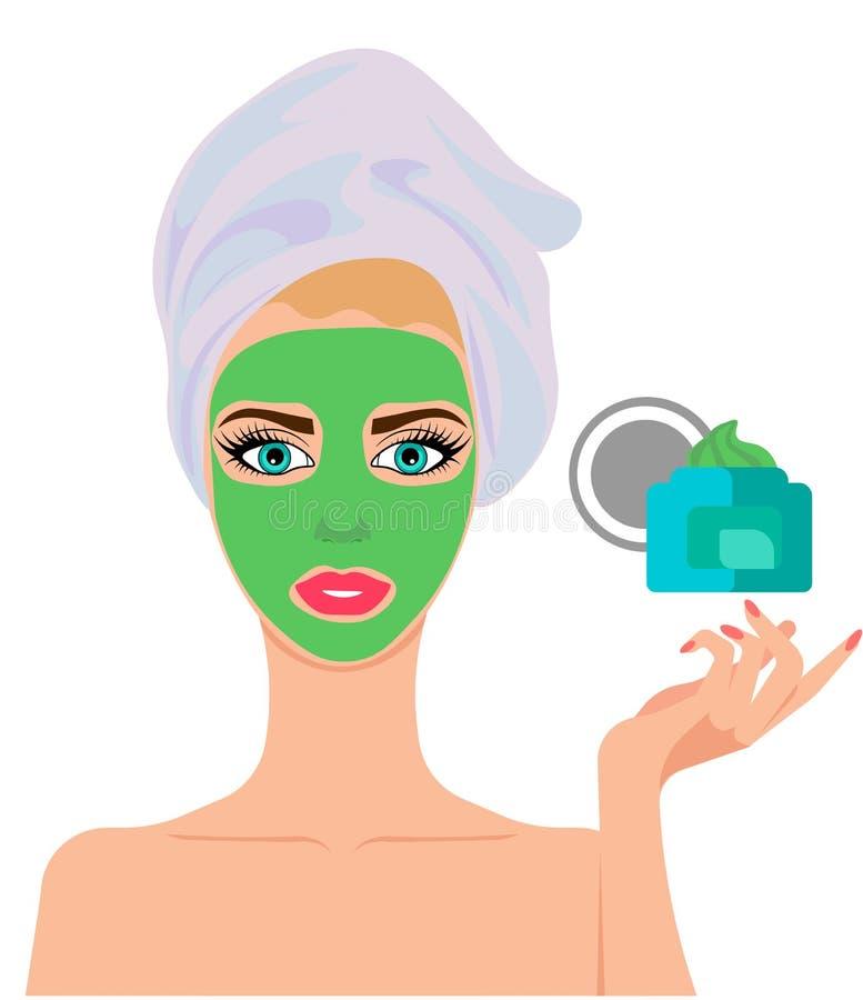 Het masker van het Webgezicht van klei Mooie jonge gir royalty-vrije illustratie