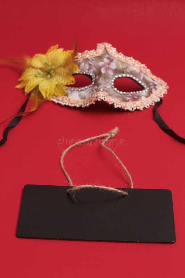 Het masker voor Purim-vakantie van vierings de Joodse Carnaval en schittert achtergrond Se stock foto