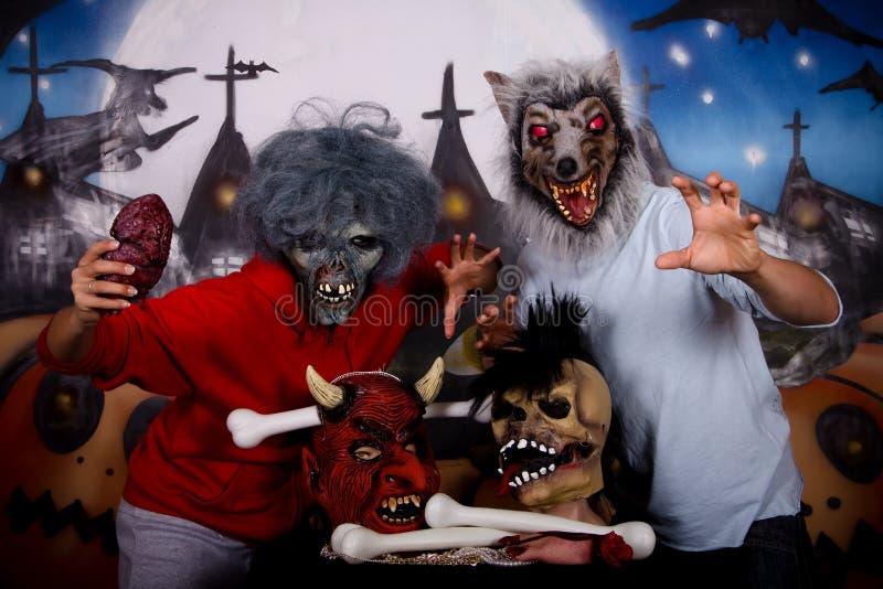 Het maskerpaar van Halloween stock foto's