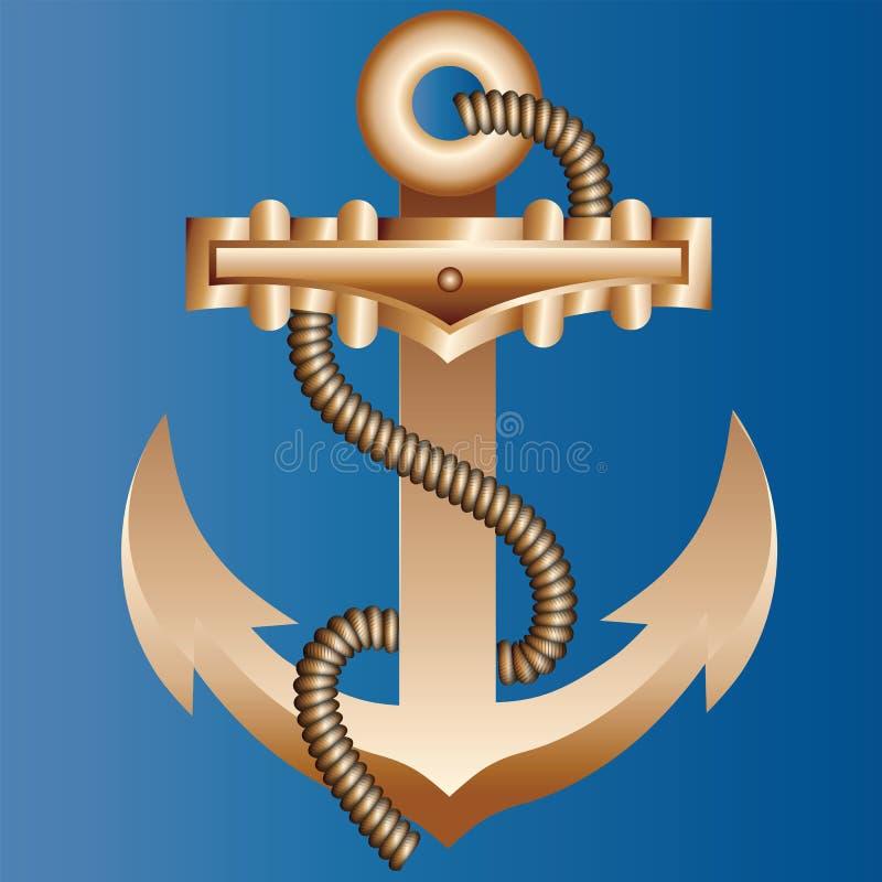 Het massieve gouden die schipanker met een dikke hempen kabel op een heldere blauwe achtergrond van kleur van zeewater wordt gevl stock illustratie