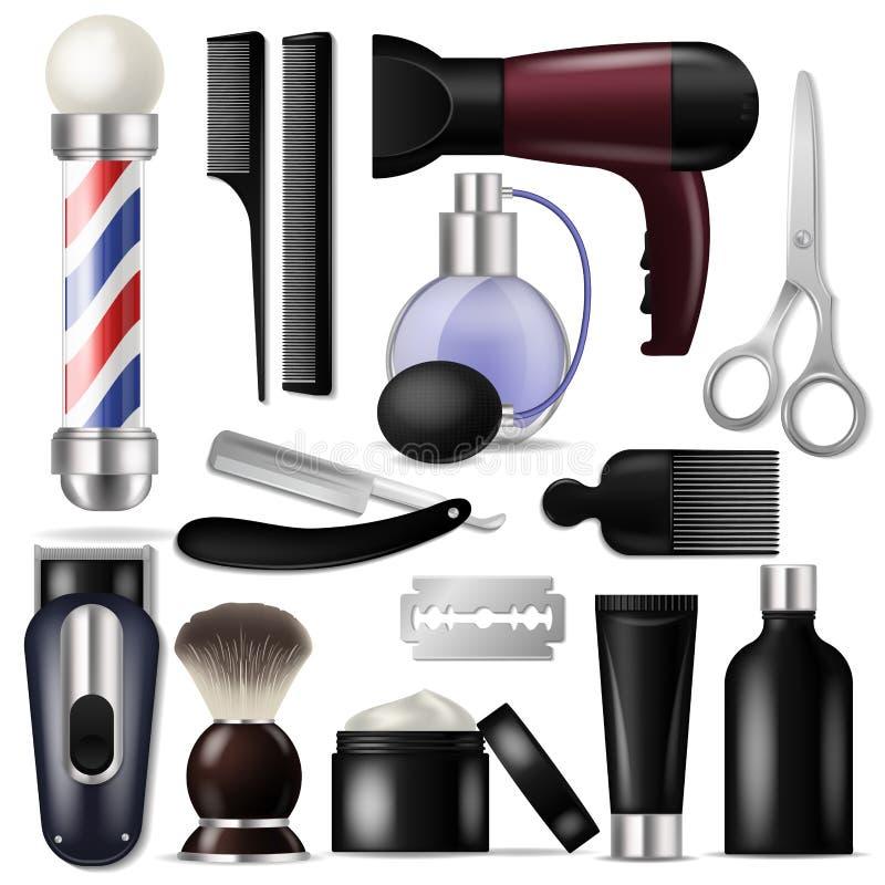 Het materiaal of de kapperhulpmiddelen van de kappers vectorherenkapper om illustratie scheren-reeks van scheermesschaar haircutt royalty-vrije illustratie