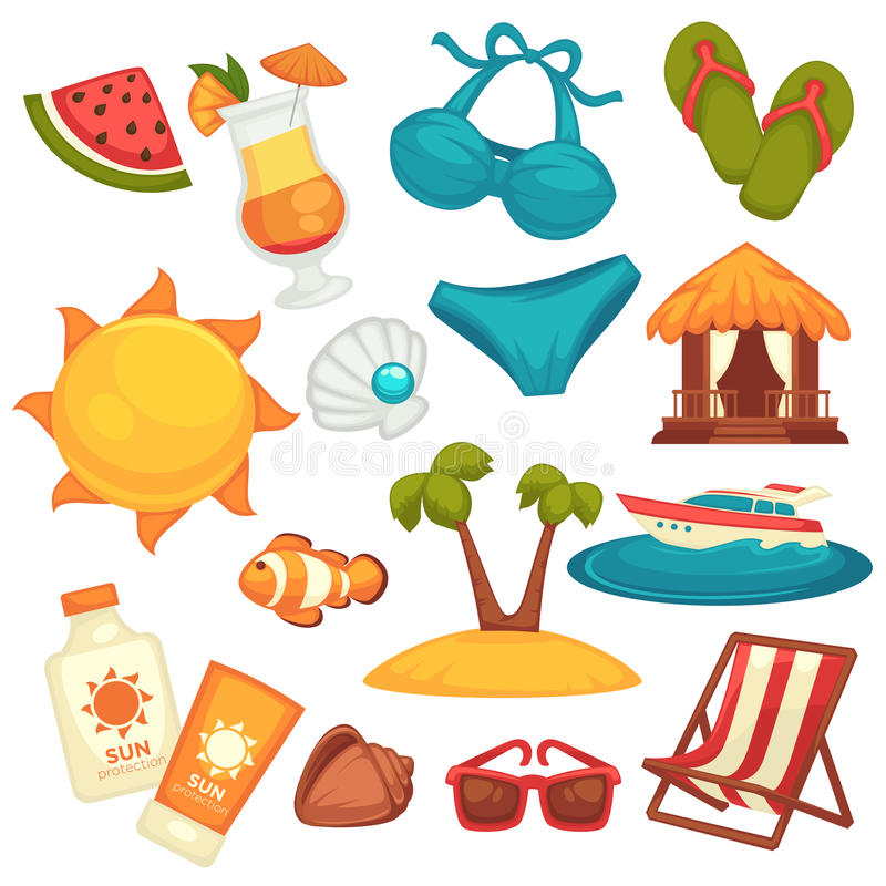 Het materiaal en de klerenaffiche van de de zomervakantie op wit royalty-vrije illustratie