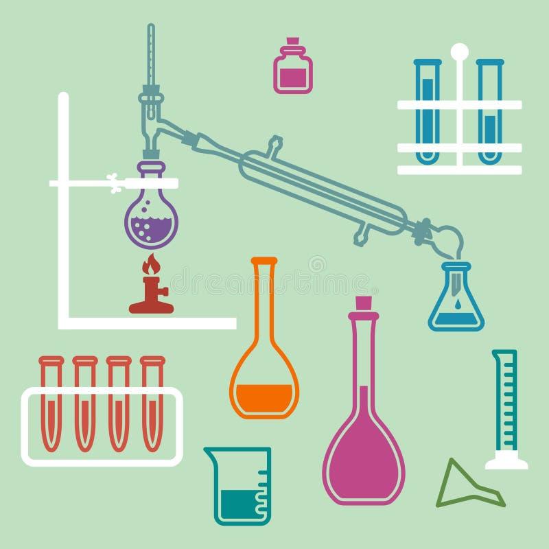 Het materiaal van het chemielaboratorium stock illustratie