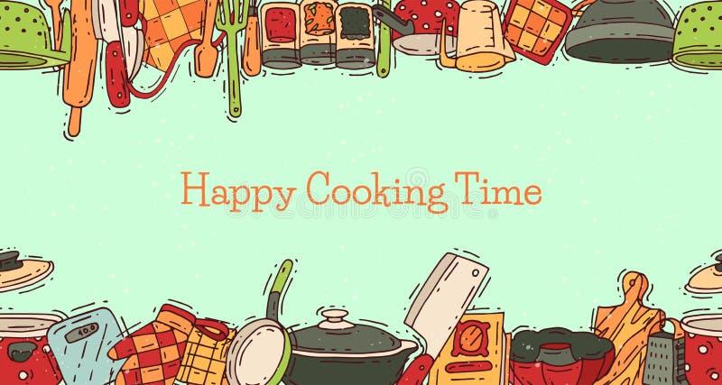 Het materiaal vectorkeukengerei van de kooktijdaffiche of cookware voor voedsel met het bestek en de plaat van het keukenwerktuig stock illustratie