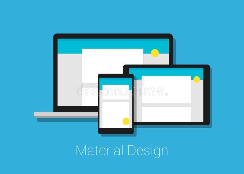 Het materiaal verlaagt zich ontvankelijke interfacelay-out vector illustratie