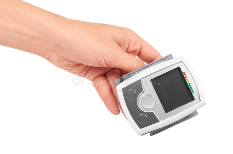 Het materiaaltensiometer van de bloeddrukmeting op witte achtergrond ter beschikking wordt geïsoleerd die royalty-vrije stock foto