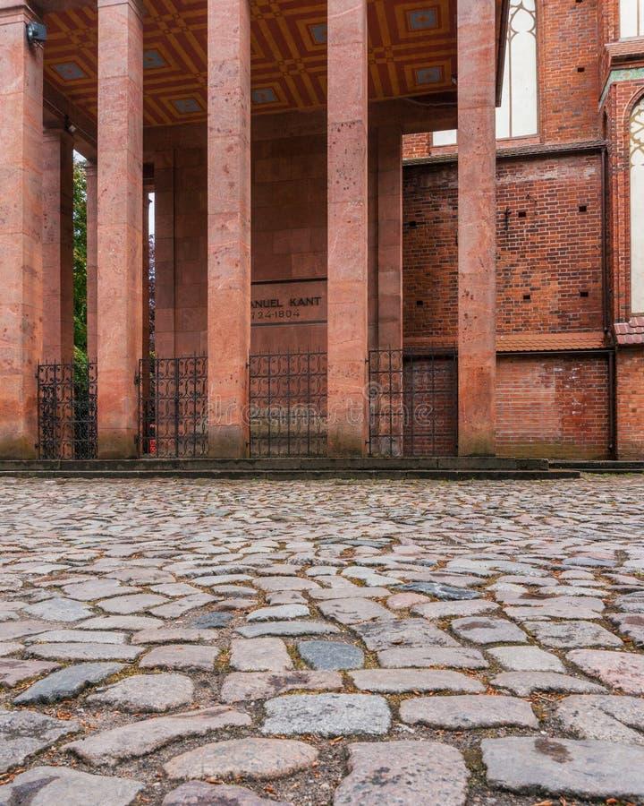 Het mausoleum van Immanuel Kant ` s De herstelde kathedraal op het Eiland Kant stock afbeelding