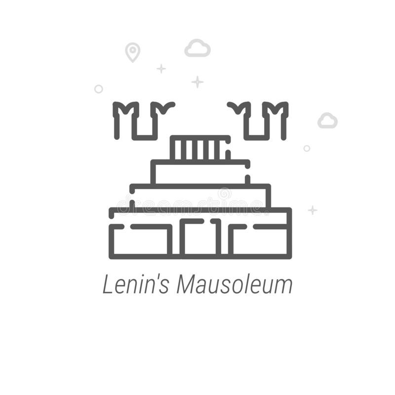 Het Mausoleum van Lenin, Vector de Lijnpictogram van Moskou, Symbool, Pictogram, Teken Abstracte geometrisch Editableslag stock illustratie