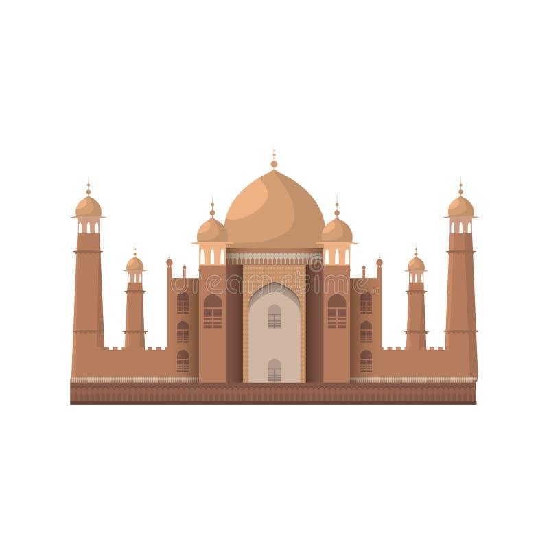 Het mausoleum van Mahal van Taj in Agra, India Geïsoleerd op wit Vector vector illustratie