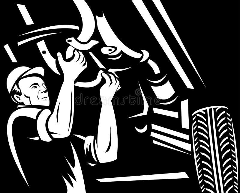 Het mechanische automobiel werken van de auto stock illustratie