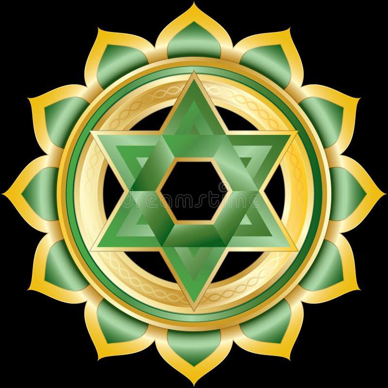 Het Medaillon van het juweel zoals Hindoese Chakra van Anahata royalty-vrije illustratie