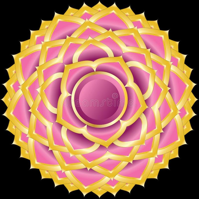 Het Medaillon van het juweel zoals Hindoese Chakra van Sahasrara vector illustratie