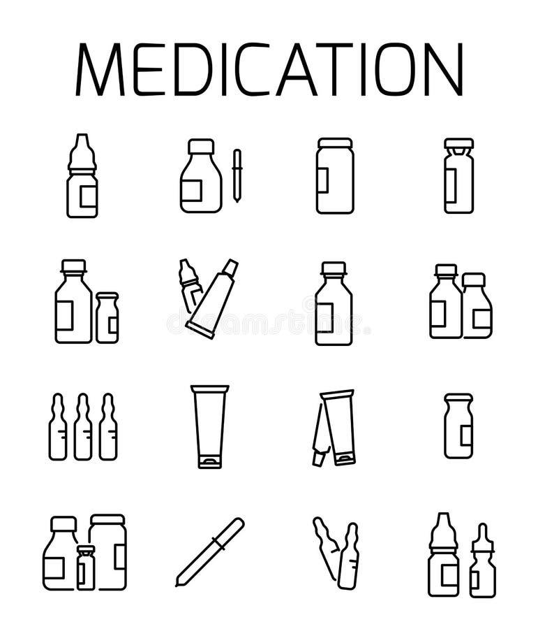 Het medicijn bracht vectorpictogramreeks met elkaar in verband vector illustratie