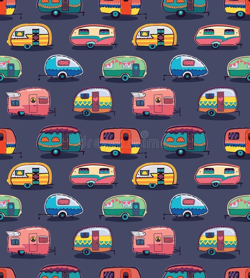 Het medio patroon van jaren '50 cartoonish kampeerauto's stock illustratie