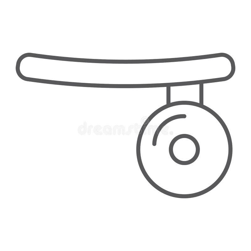 Het medisch pictogram van de spiegel dun lijn, arts en materiaal, hoofdspiegelteken, vectorafbeeldingen, een lineair patroon op e stock illustratie