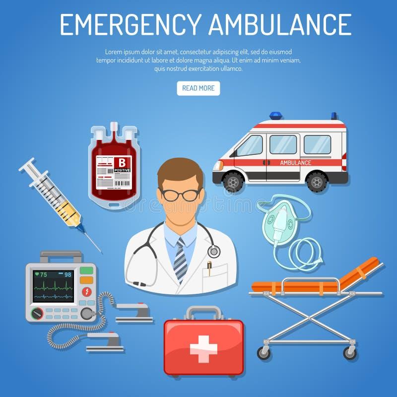 Het medische concept van de noodsituatieziekenwagen royalty-vrije illustratie