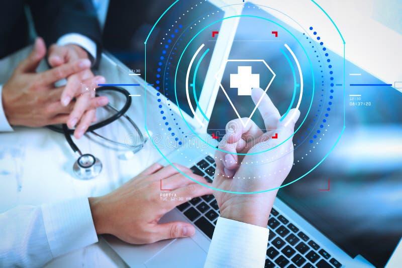 Het medische concept van de het teamvergadering van het technologienetwerk Artsenhand wor royalty-vrije illustratie