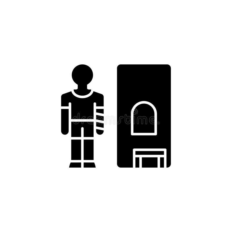 Het medische concept van het hulp zwarte pictogram Medisch hulp vlak vectorsymbool, teken, illustratie vector illustratie