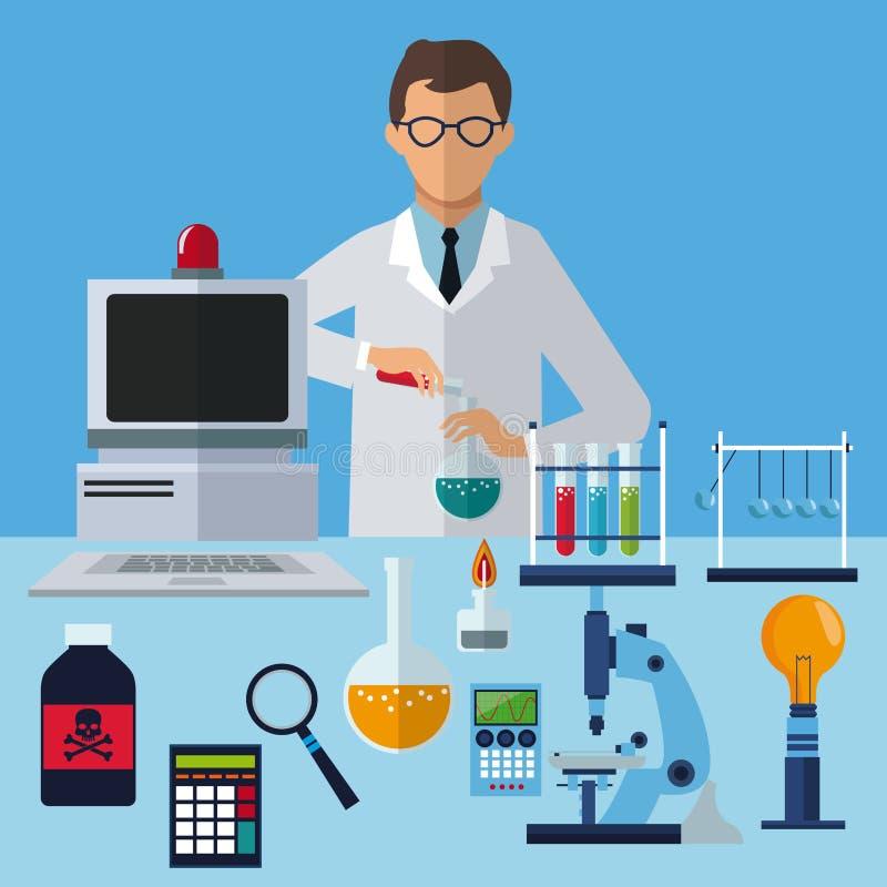 Het medische het laboratorium van het wetenschapperexperiment werken royalty-vrije illustratie