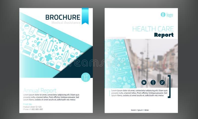 Het medische Malplaatje van de Brochuredekking in blauwe colorwith blured foto op achtergrond Vlieger met gealigneerde Moderne ge stock illustratie