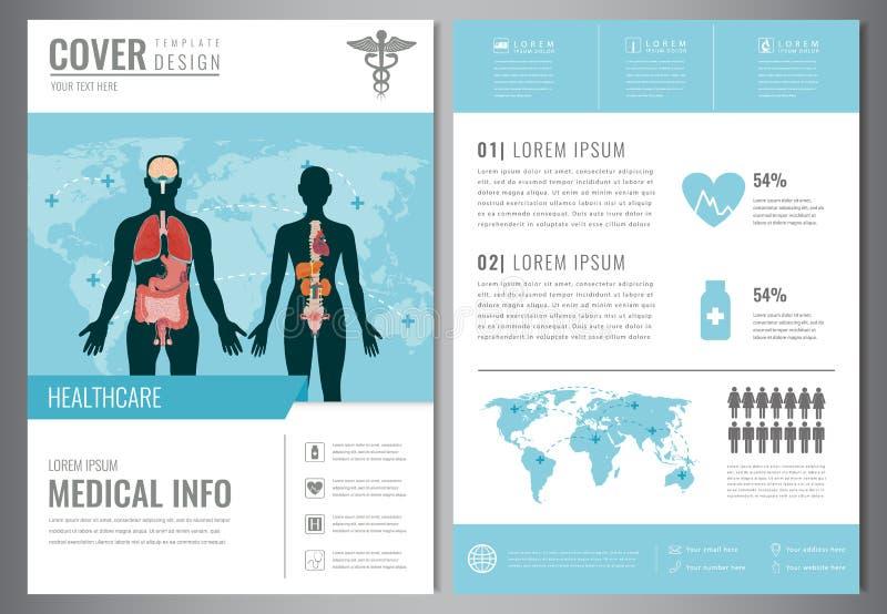 Het medische Malplaatje van het Brochureontwerp Gezondheidszorg en Medisch Concept Vlieger met geneeskundepictogrammen Vector vector illustratie