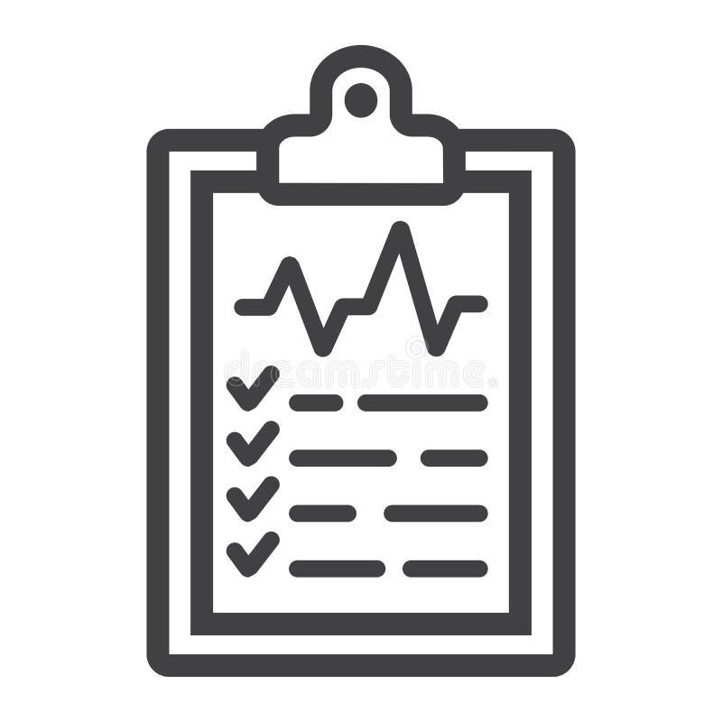 Het medische pictogram van de klembordlijn, geneeskunde vector illustratie