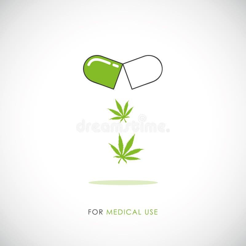 Het medische pictogram van de marihuanapil met cannabisbladeren royalty-vrije illustratie