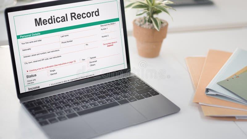 Het medische van de de Vormgeschiedenis van het Rapportverslag Geduldige Concept stock foto's