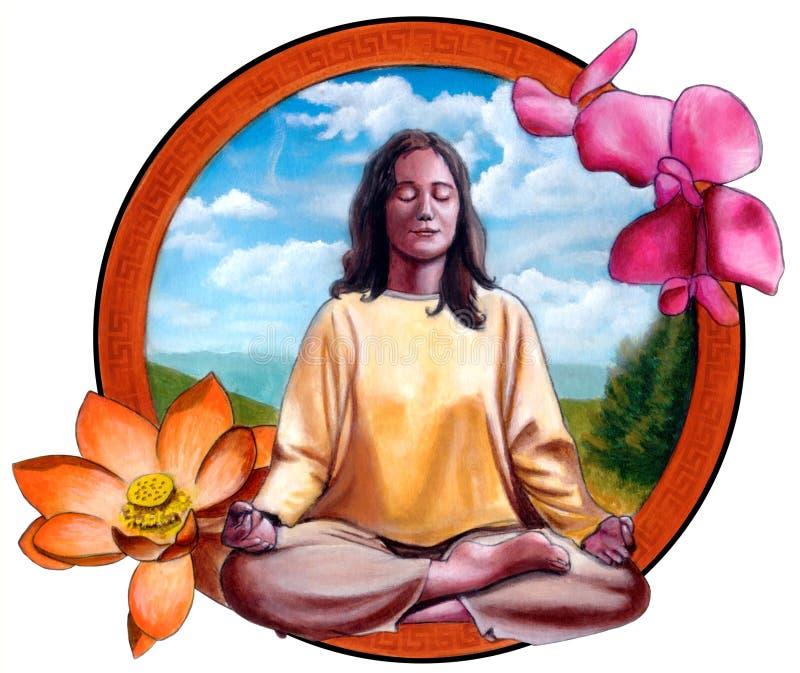 Het mediteren van het meisje royalty-vrije illustratie