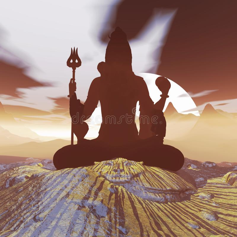 Het mediteren van Lord Shiva royalty-vrije stock afbeeldingen