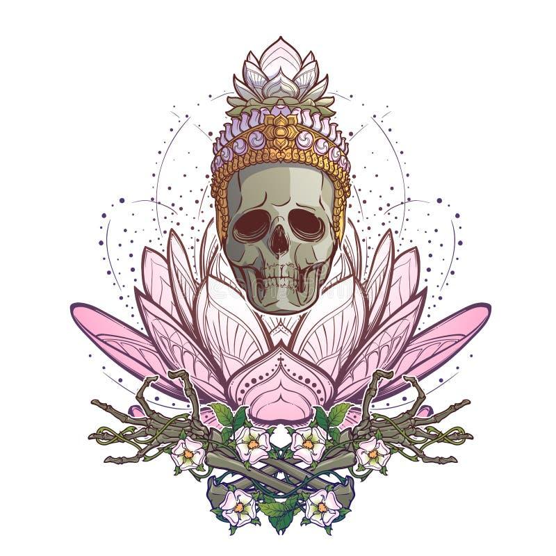 Het mediteren van Skelet Menselijke schedel en handen op een heilige lotusbloembloem Ingewikkelde die handtekening op witte achte royalty-vrije illustratie