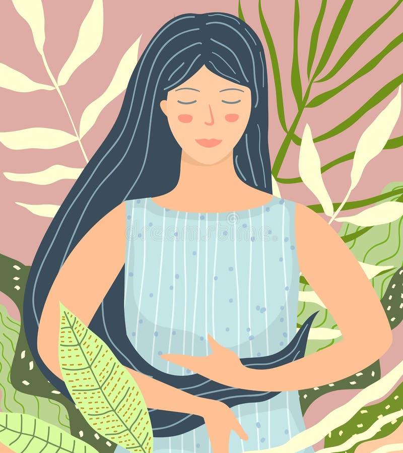Het mediteren van Vrouw in het Vlakke ontwerp van de Aardschoonheid vector illustratie