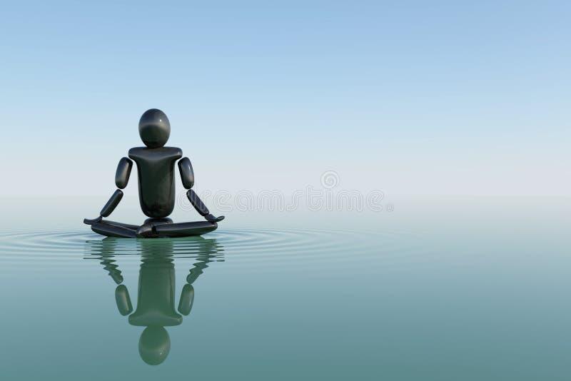 Het mediteren in water royalty-vrije illustratie