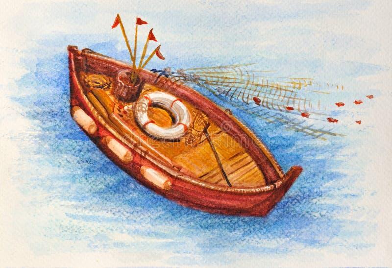Het mediterrane beeld van de vissersbootwaterverf stock afbeeldingen