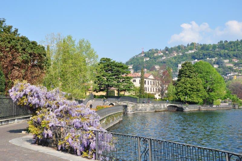 Het meer Como Italië van het stadscentrum royalty-vrije stock fotografie