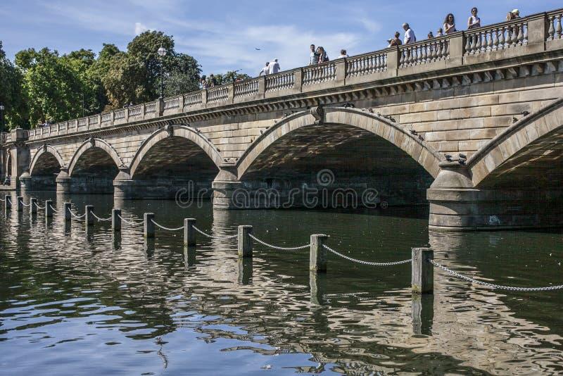 Het meer in Hyde Park - de brug en zijn gedachtengang royalty-vrije stock foto