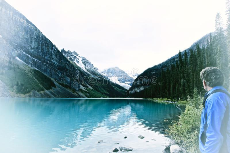 Het meer louise Canada stock fotografie