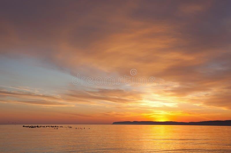 Het Meer Michigan van de zonsopgang stock foto's