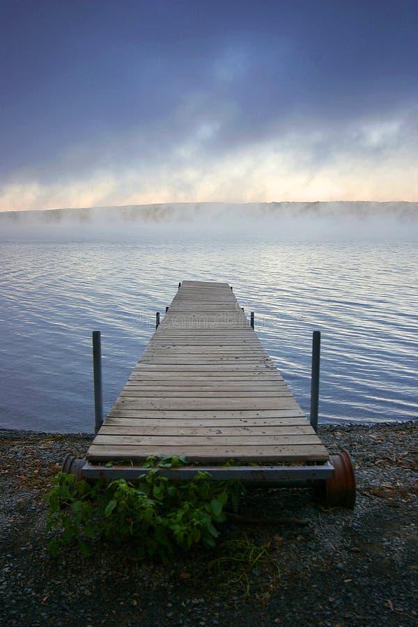 Het meer mistige ochtend van Cayuga stock foto