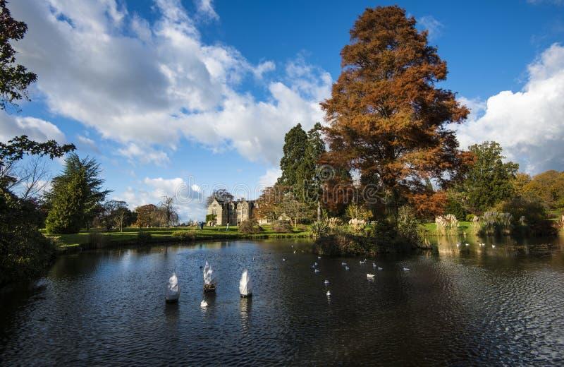 Het meer op Wakehurst Place, West-Sussex, Engeland royalty-vrije stock foto's